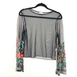 Luxe Sheer Top Long Floral Sleeves Boho Size L